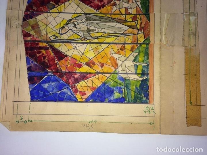 Arte: ESTUDIO PARA VITRAL. PINTURA. ACUARELA Y TINTA. ATRIB. GORGUES. ESPAÑA. CIRCA 1950 - Foto 5 - 107210571