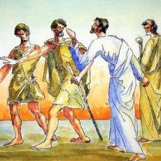 Arte: JESÚS Y CAMINANTES. PINTURA. ACUARELA SOBRE PAPEL.FIRMADO GORGUES. ESPAÑA. CIRCA 1950. Lote 107211659