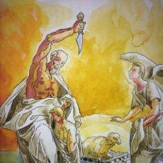 Arte: EL SACRIFICIO DE ISAAC. ACUARELA SOBRE PAPEL. ATRIB. GORGUES. ESPAÑA. CIRCA 1950. Lote 107212791