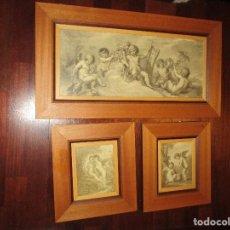 Arte: TRIPTICO DE TRES CUADROS ANTIGUOS, GRABADOS O SIMILAR CON ANGELES. Lote 107323467