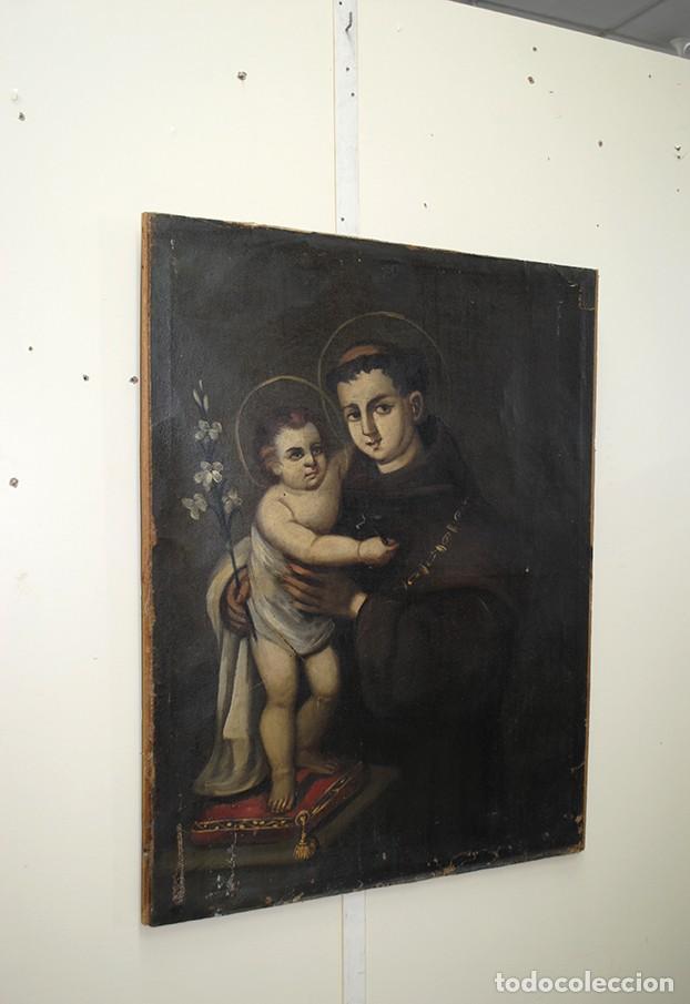 ANTIGUO ÓLEO SOBRE LIENZO SAN ANTONIO Y NIÑO (Arte - Arte Religioso - Pintura Religiosa - Oleo)