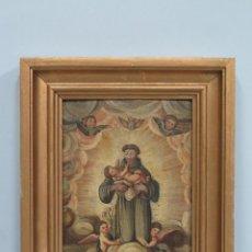Arte: BONITO SAN ANTONIO CON EL NIÑO. OLEO S/ TABLA. SIGLO XVIII. Lote 107418991
