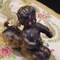 Arte: ANGELITO EN MADERA TALLADA Y PLATEADA PERTENECIENTE AL SIGLO XVIII. 20 CM DE ALTURA.. Lote 107536531