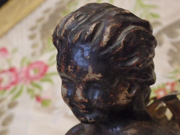 Arte: Angelito en madera tallada y plateada perteneciente al siglo XVIII. 20 cm de altura. - Foto 3 - 107536531