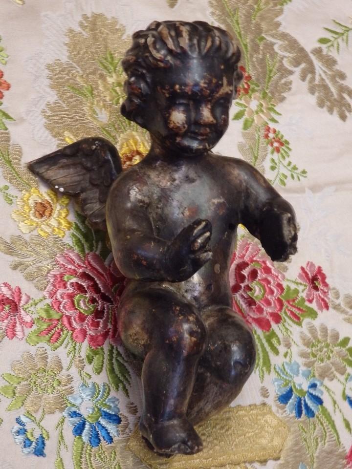 Arte: Angelito en madera tallada y plateada perteneciente al siglo XVIII. 20 cm de altura. - Foto 8 - 107536531