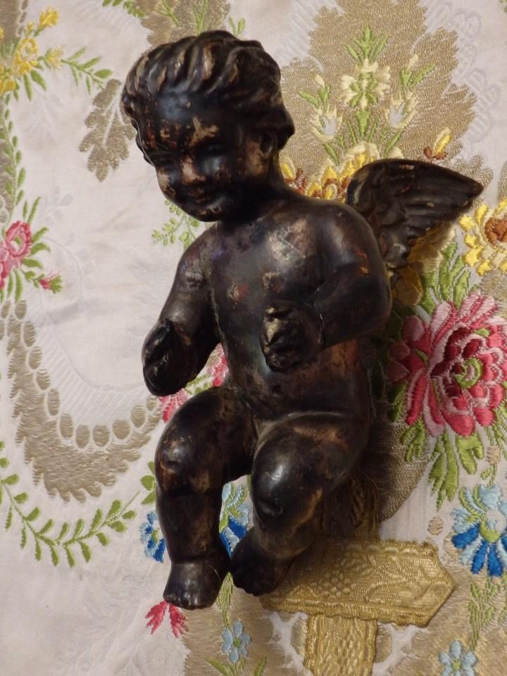 Arte: Angelito en madera tallada y plateada perteneciente al siglo XVIII. 20 cm de altura. - Foto 9 - 107536531