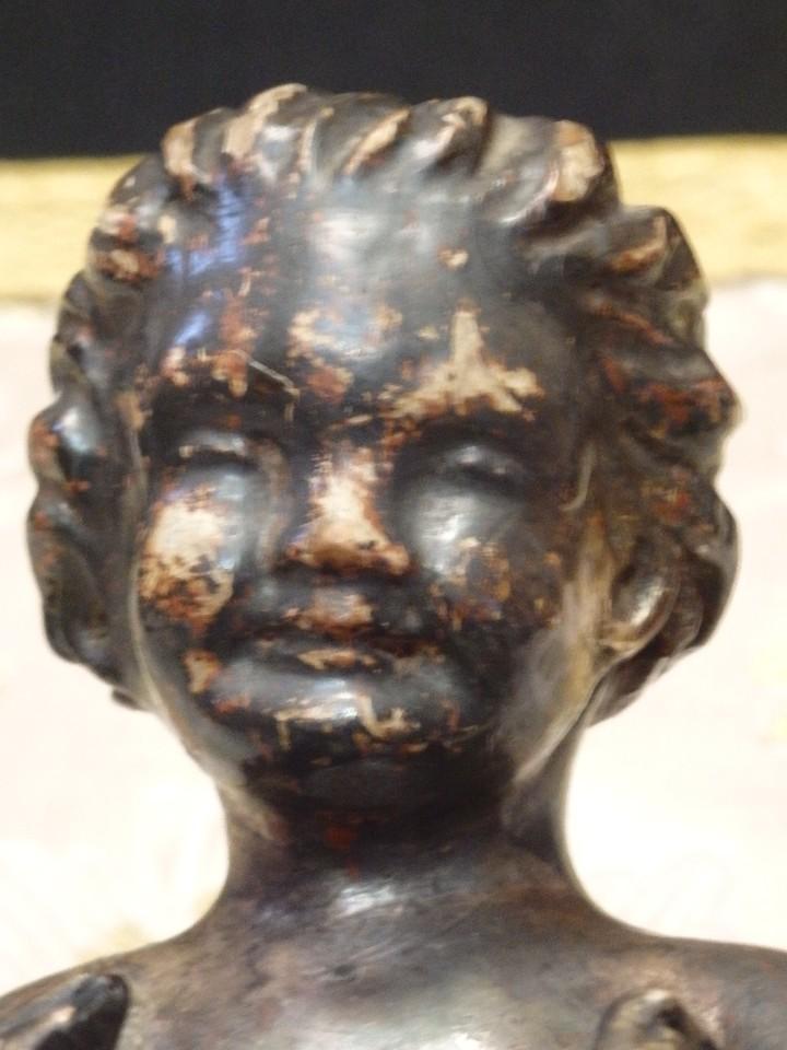 Arte: Angelito en madera tallada y plateada perteneciente al siglo XVIII. 20 cm de altura. - Foto 13 - 107536531