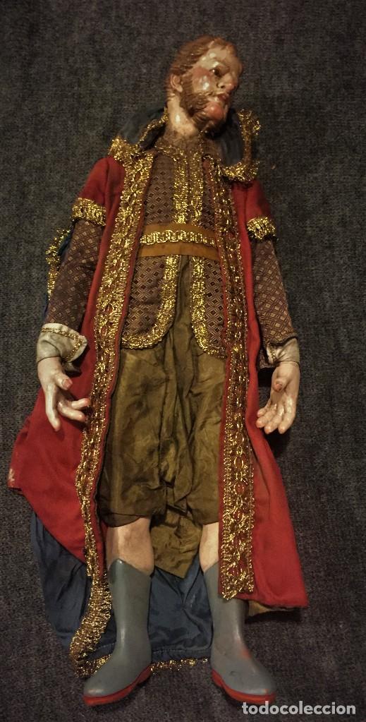 Arte: IMPRESIONANTE CONJUNTO DE REYES MAGOS DE BELEN O PRESEPE NAPOLITANO - Foto 34 - 107569595