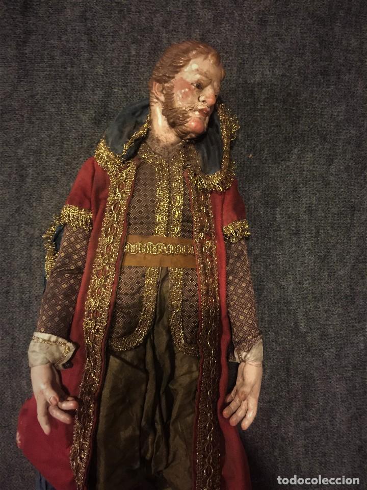 Arte: IMPRESIONANTE CONJUNTO DE REYES MAGOS DE BELEN O PRESEPE NAPOLITANO - Foto 41 - 107569595