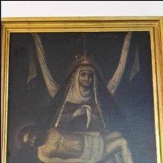 Arte: OLEO ANTIGUO PASION VIRGEN DOLOROSA CON JESUS MUERTO SIGLO XVII O XVIII.. Lote 107657291
