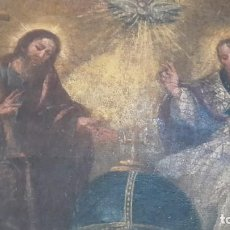 Arte: OLEO ANTIGUO LA SANTISIMA TRINIDAD SIGLO XVII- XVIII-. Lote 162133682