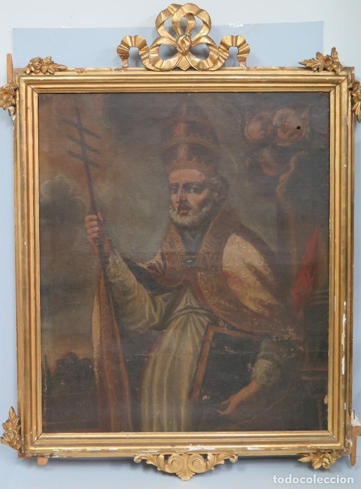 SAN AGUSTIN. OLEO S/ LIENZO. MARCHO SIGLO XIX (Arte - Arte Religioso - Pintura Religiosa - Oleo)