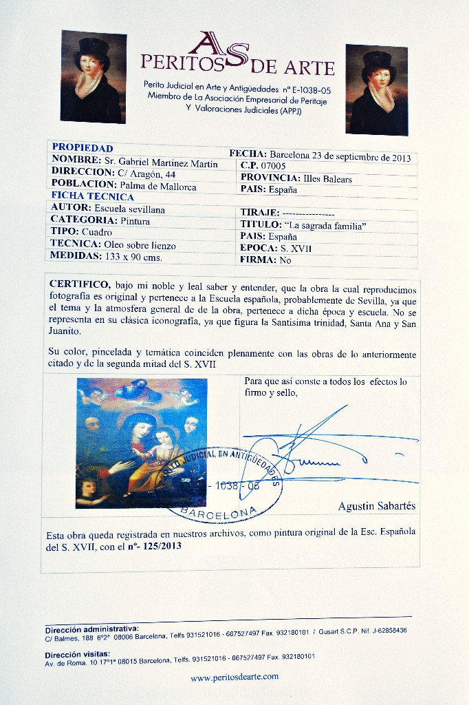 Arte: PINTURA ESPAÑOLA SIGLO XVII. LA SAGRADA FAMILIA. CERTIFICADO. NUEVO PRECIO. - Foto 10 - 4343779