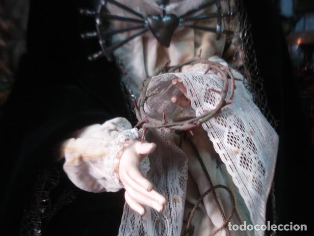 Arte: Extraordinaria Dolorosa talla cap i pota sXIX - Foto 6 - 107770611