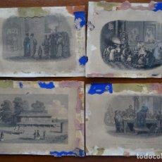 Arte: GRABADOS, 18,5 X 13,5 APROX, 4, MANDARINES, TEMPLO, CULTO, CRUZ. Lote 107841415