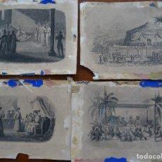 Arte: GRABADOS, 18,5 X 13,5 APROX, 4, CEREMONIA, TIENDA, JESUITAS, TRINITARIOS . Lote 107841567