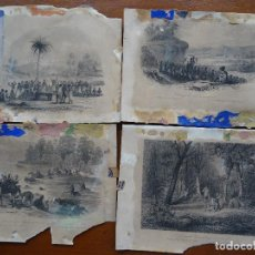 Arte: GRABADOS, 18,5 X 13,5 APROX, 4, VIRGEN, REY KARAMANSA, CRUCE RÍO, ÁRBOL FETICOS. Lote 107841871