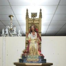 Arte - ANTIGUO SAGRADO CORAZÓN DE JESÚS SENTADO SOBRE EL TRONO - 107874923
