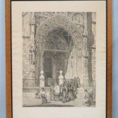 Arte: GRAN VISTA DEL PORTICO DE LA COLEGIATA STA. MARIA. ARANDA DE DUERO. GRABADO. JOSE PEDRAZA?. Lote 107928915