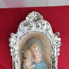 Arte: ANTIGUO RETABLO DE ESCAYOLA O YESO VIRGEN MARIA Y NIÑO JESUS. Lote 108084951