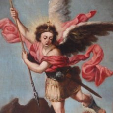 Arte: SAN MIGUEL VENCIENDO A LUCIFER. O/LIENZO. FCO MENESES OSORIO. CÍRCULO DE MURILLO. S. XVII-XVIII.. Lote 219341203