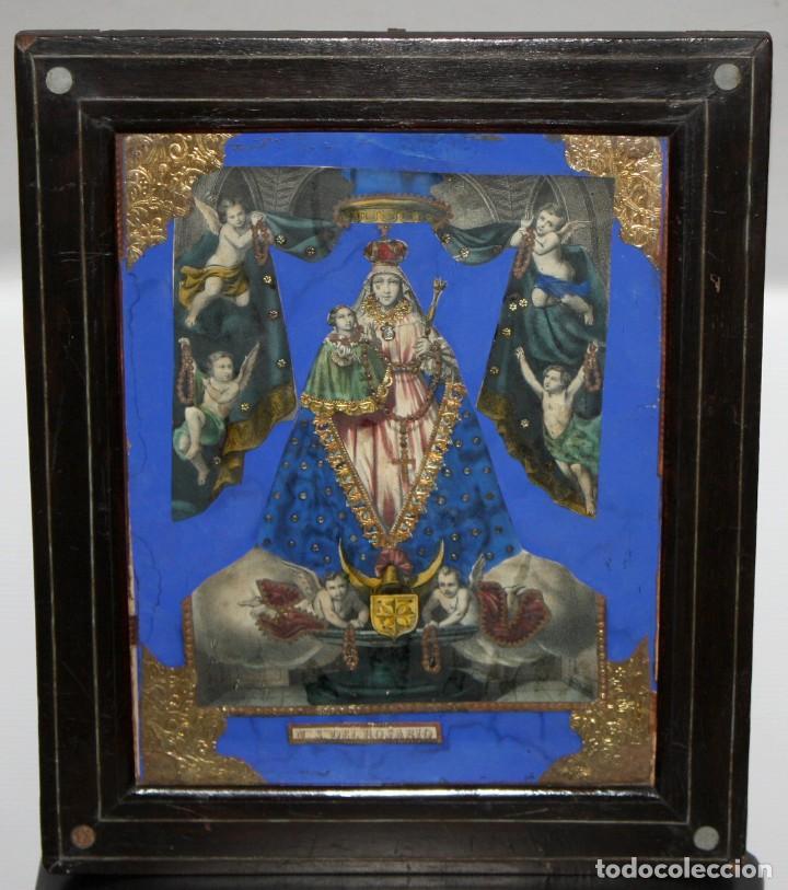 VIRGEN DEL ROSARIO. COMPOSICION RELIGIOSA DEL SIGLO XIX (Arte - Arte Religioso - Pintura Religiosa - Otros)