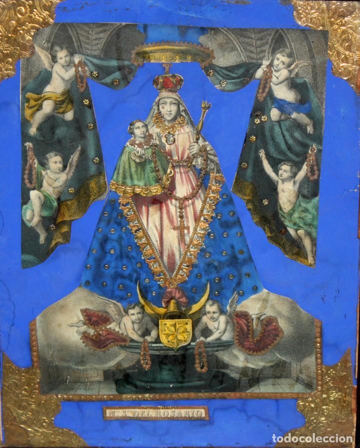 Arte: VIRGEN DEL ROSARIO. COMPOSICION RELIGIOSA DEL SIGLO XIX - Foto 2 - 108372375