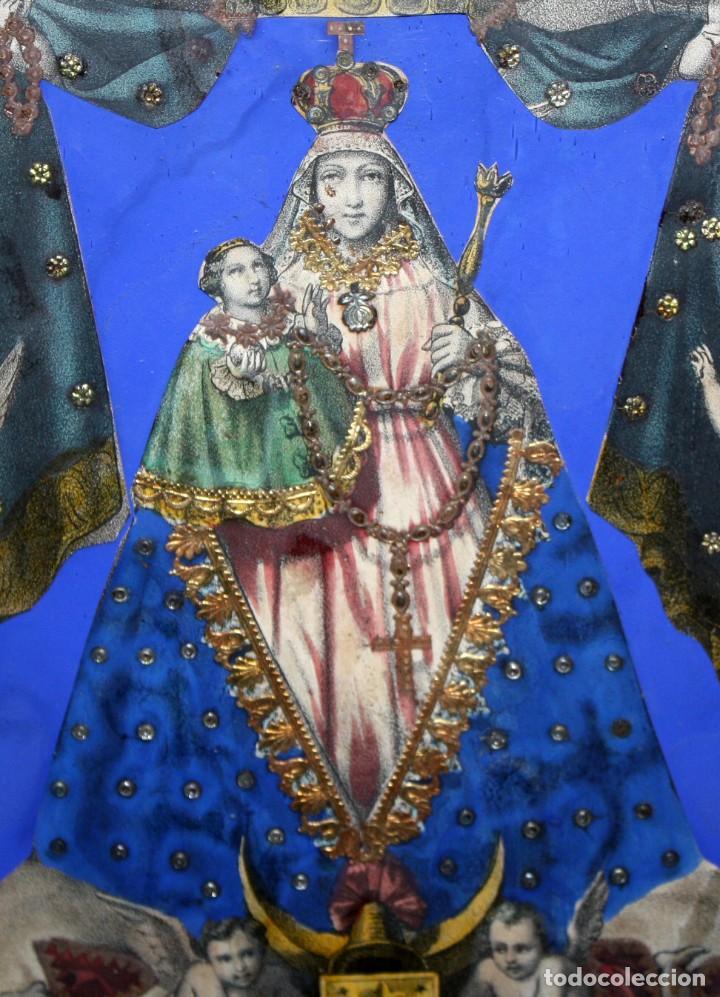 Arte: VIRGEN DEL ROSARIO. COMPOSICION RELIGIOSA DEL SIGLO XIX - Foto 3 - 108372375