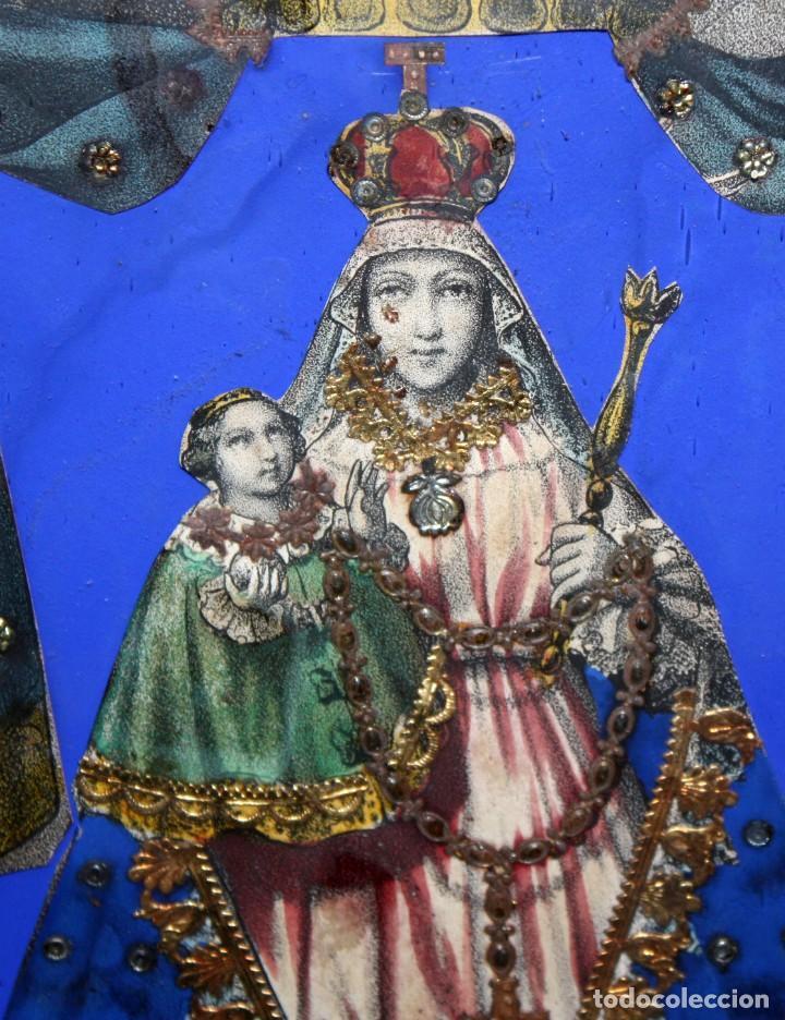 Arte: VIRGEN DEL ROSARIO. COMPOSICION RELIGIOSA DEL SIGLO XIX - Foto 4 - 108372375