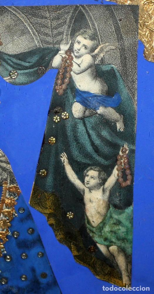 Arte: VIRGEN DEL ROSARIO. COMPOSICION RELIGIOSA DEL SIGLO XIX - Foto 7 - 108372375