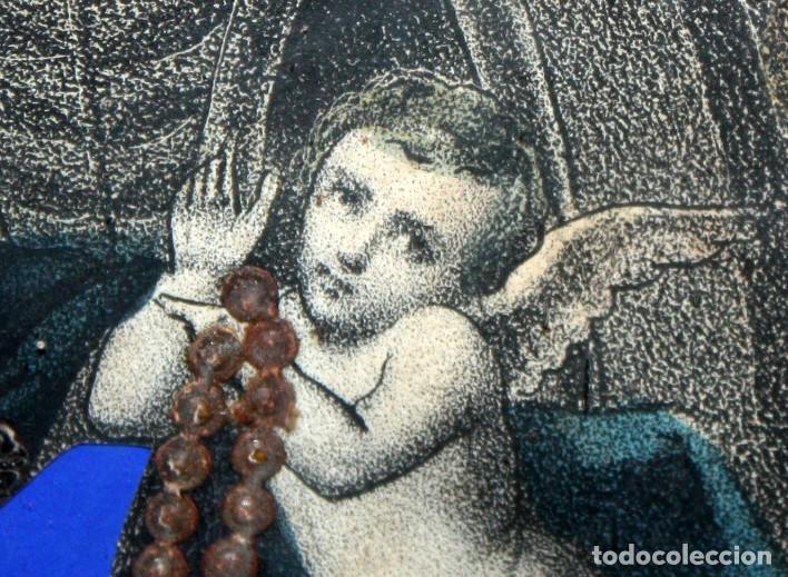 Arte: VIRGEN DEL ROSARIO. COMPOSICION RELIGIOSA DEL SIGLO XIX - Foto 8 - 108372375
