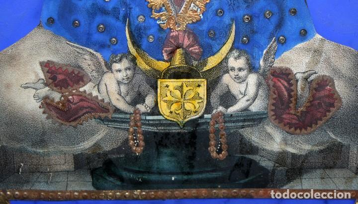 Arte: VIRGEN DEL ROSARIO. COMPOSICION RELIGIOSA DEL SIGLO XIX - Foto 11 - 108372375