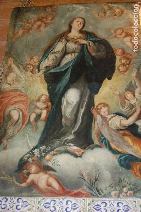 Arte: Inmaculada. Excepcional óleo sobre lienzo de 169,3x123,3 siglo XVIII. Buen estado. Ver foto - Foto 6 - 108383623