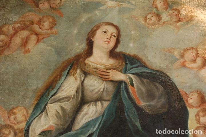 Arte: Inmaculada. Excepcional óleo sobre lienzo de 169,3x123,3 siglo XVIII. Buen estado. Ver foto - Foto 7 - 108383623