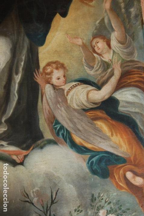 Arte: Inmaculada. Excepcional óleo sobre lienzo de 169,3x123,3 siglo XVIII. Buen estado. Ver foto - Foto 10 - 108383623