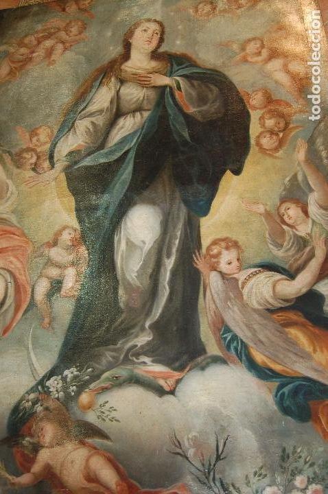 Arte: Inmaculada. Excepcional óleo sobre lienzo de 169,3x123,3 siglo XVIII. Buen estado. Ver foto - Foto 14 - 108383623