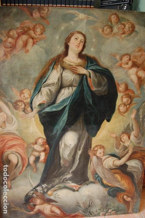 INMACULADA. EXCEPCIONAL ÓLEO SOBRE LIENZO DE 169,3X123,3 SIGLO XVIII. BUEN ESTADO. VER FOTO (Arte - Arte Religioso - Pintura Religiosa - Oleo)