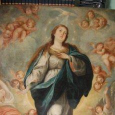 Arte: INMACULADA. EXCEPCIONAL ÓLEO SOBRE LIENZO DE 169,3X123,3 SIGLO XVIII. BUEN ESTADO. VER FOTO. Lote 108383623