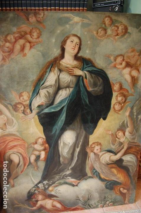 Arte: Inmaculada. Excepcional óleo sobre lienzo de 169,3x123,3 siglo XVIII. Buen estado. Ver foto - Foto 4 - 108383623