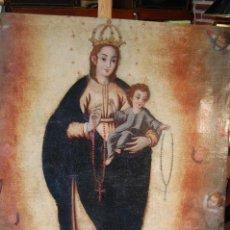 Arte: PRECIOSA VIRGEN DEL CARMEN SIGLO XVIII PERFECTO ESTADO.LIENZO DE 106X85.. Lote 108387659