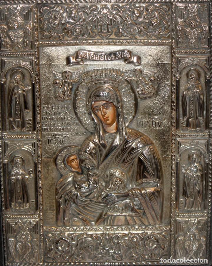 GRAN ICONO BIZANTINO EN PLATA REPUJADA DE 950. 27,5 CM. X 21,5 CM. (Arte - Arte Religioso - Iconos)
