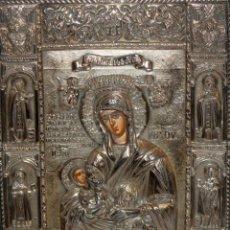 Arte: GRAN ICONO BIZANTINO EN PLATA REPUJADA DE 950. 27,5 CM. X 21,5 CM. . Lote 108428459