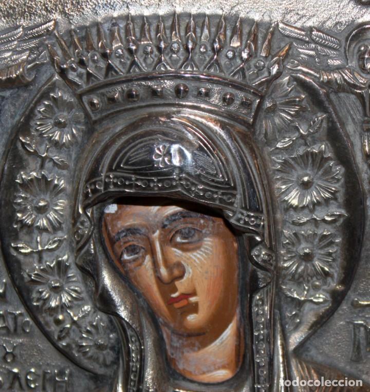 Arte: GRAN ICONO BIZANTINO EN PLATA REPUJADA DE 950. 27,5 CM. X 21,5 CM. - Foto 4 - 108428459