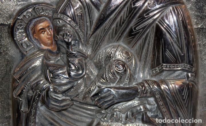 Arte: GRAN ICONO BIZANTINO EN PLATA REPUJADA DE 950. 27,5 CM. X 21,5 CM. - Foto 5 - 108428459
