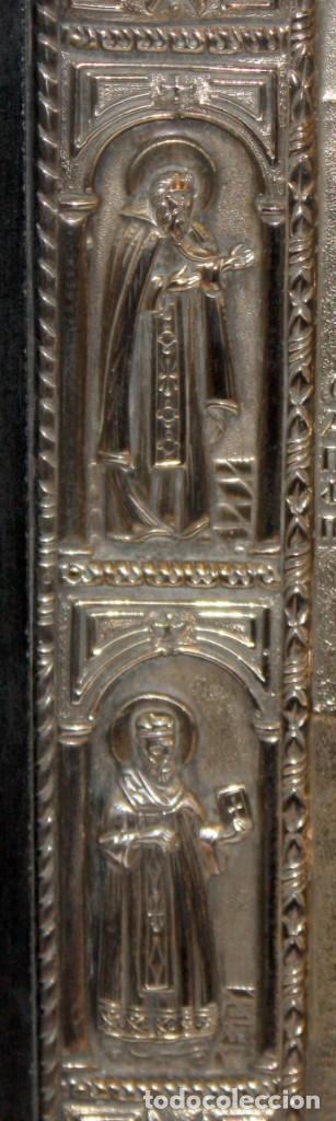 Arte: GRAN ICONO BIZANTINO EN PLATA REPUJADA DE 950. 27,5 CM. X 21,5 CM. - Foto 10 - 108428459