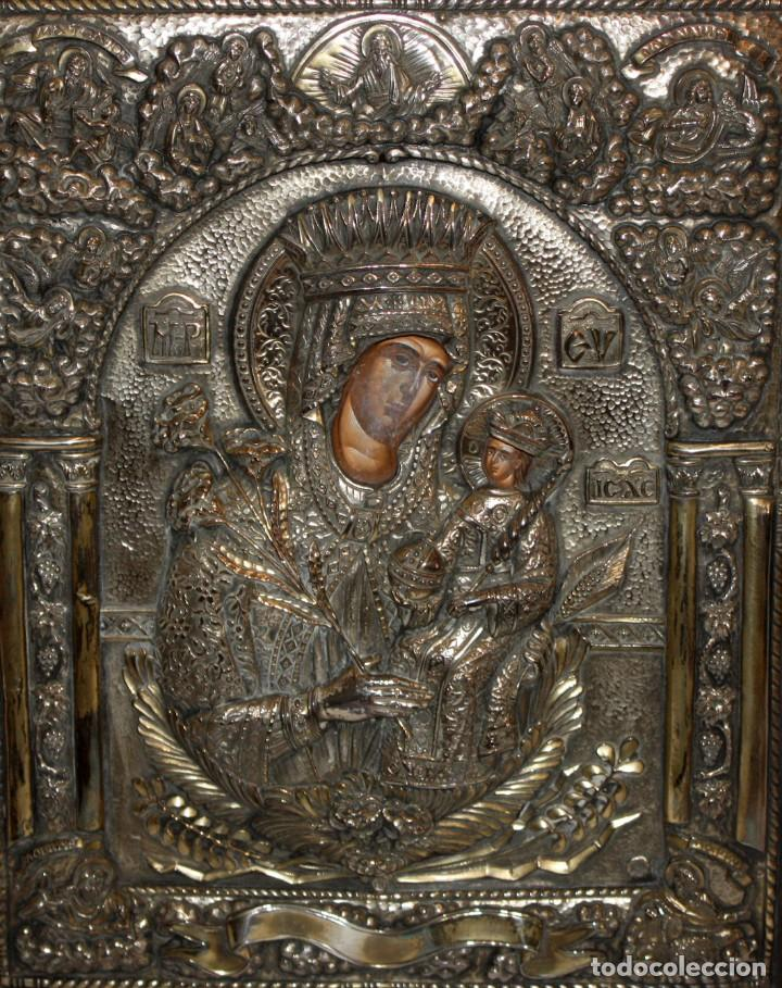 GRAN ICONO BIZANTINO EN PLATA REPUJADA DE 950. 38 CM. X 30 CM. (Arte - Arte Religioso - Iconos)