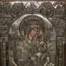 Arte: GRAN ICONO BIZANTINO EN PLATA REPUJADA DE 950. 38 CM. X 30 CM.. Lote 108428867