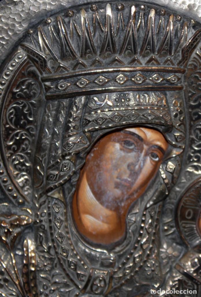 Arte: GRAN ICONO BIZANTINO EN PLATA REPUJADA DE 950. 38 CM. X 30 CM. - Foto 4 - 108428867
