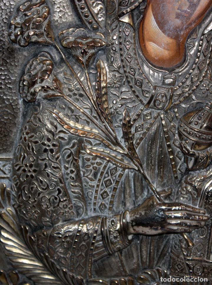 Arte: GRAN ICONO BIZANTINO EN PLATA REPUJADA DE 950. 38 CM. X 30 CM. - Foto 7 - 108428867