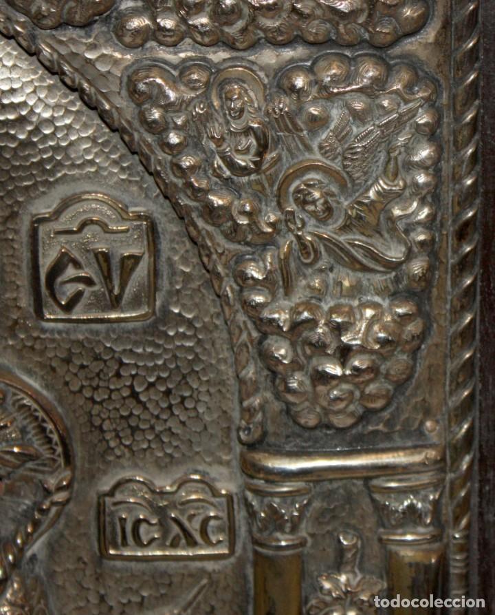 Arte: GRAN ICONO BIZANTINO EN PLATA REPUJADA DE 950. 38 CM. X 30 CM. - Foto 12 - 108428867